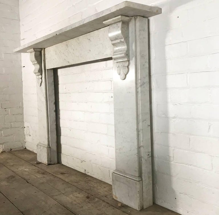 Antique 19th Century Victorian Carrara Marble Fireplace Surround In Good Condition For Sale In Manchester, GB