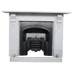 Antique 19th Century Victorian Carrara Marble Fireplace Surround