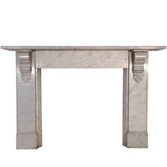 Antique 19th Century Victorian Carrara Marble Fireplace Surround