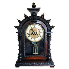 Antique 19th Century Victorian Carved Ornate Mantel Clock