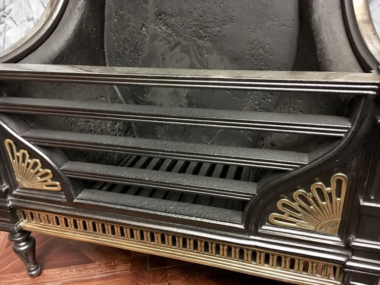 English Antique 19th Century Victorian Cast Iron and Brass Fire Basket Grate For Sale