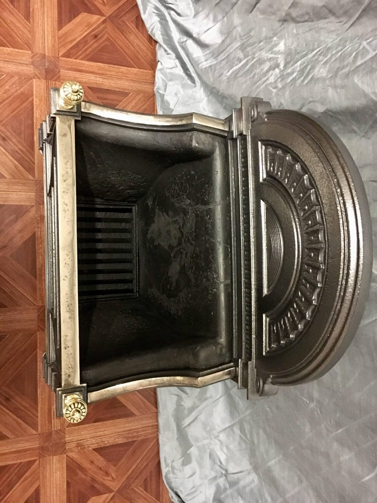 Antique 19th Century Victorian Cast Iron and Brass Fire Basket Grate For Sale 2