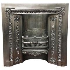 Antique 19th Century Victorian Cast Iron Carron Fireplace Surround Insert