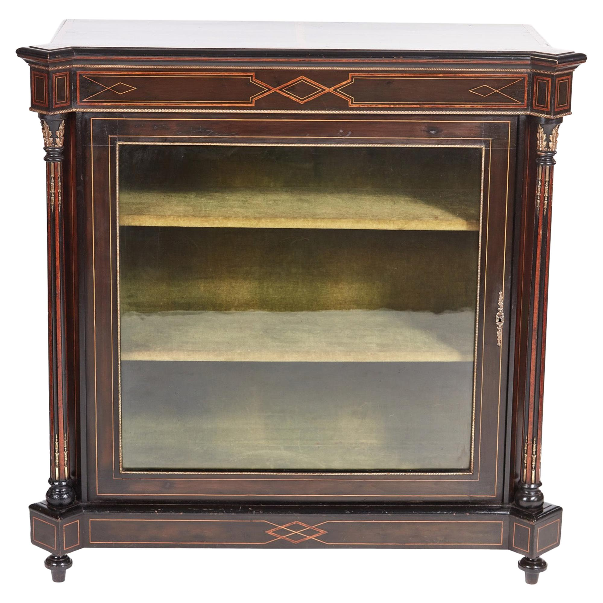 Antique 19th Century Victorian Ebonized and Inlaid Display Cabinet