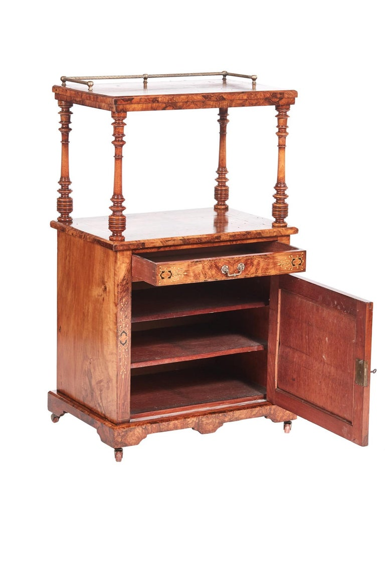 English Antique 19th Century Victorian Inlaid Burr Walnut Canterbury For Sale