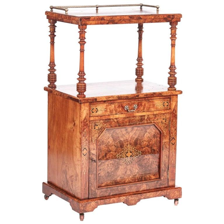 Antique 19th Century Victorian Inlaid Burr Walnut Canterbury For Sale