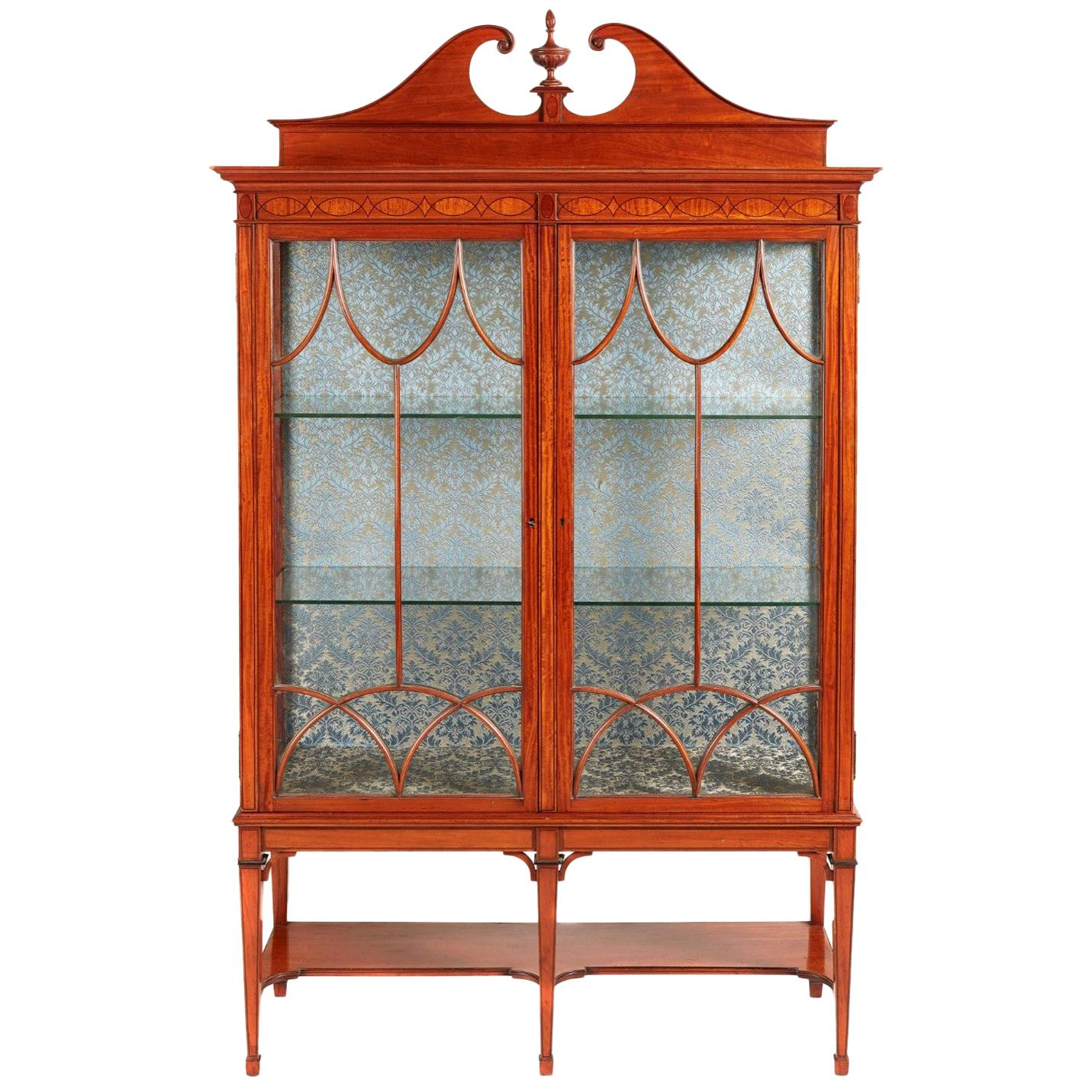 Antique 19th Century Victorian Inlaid Satinwood Display Cabinet