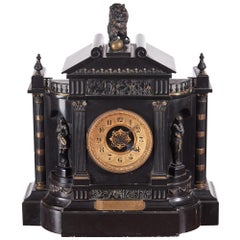 Antique 19th Century Victorian Marble Architectural Mantle Clock by Japy Freres