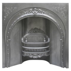 Antique 19th Century Victorian Ornate Cast Iron Arched Fireplace Grate