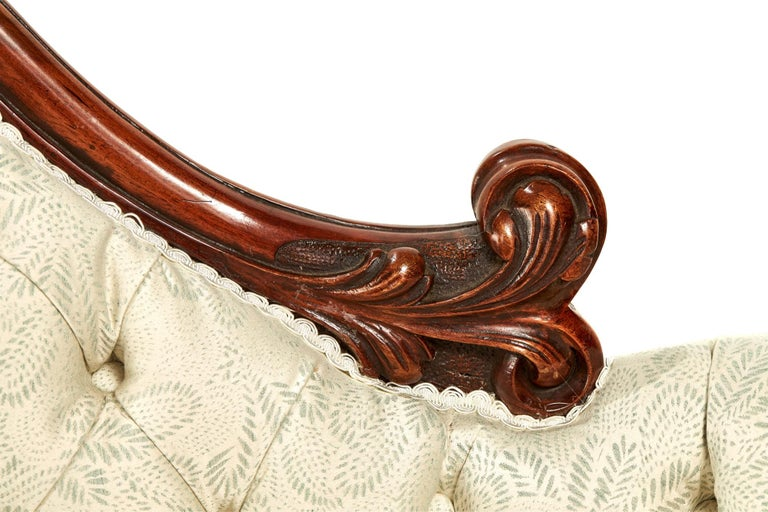 English Antique 19th Century Victorian Walnut Carved Sofa For Sale
