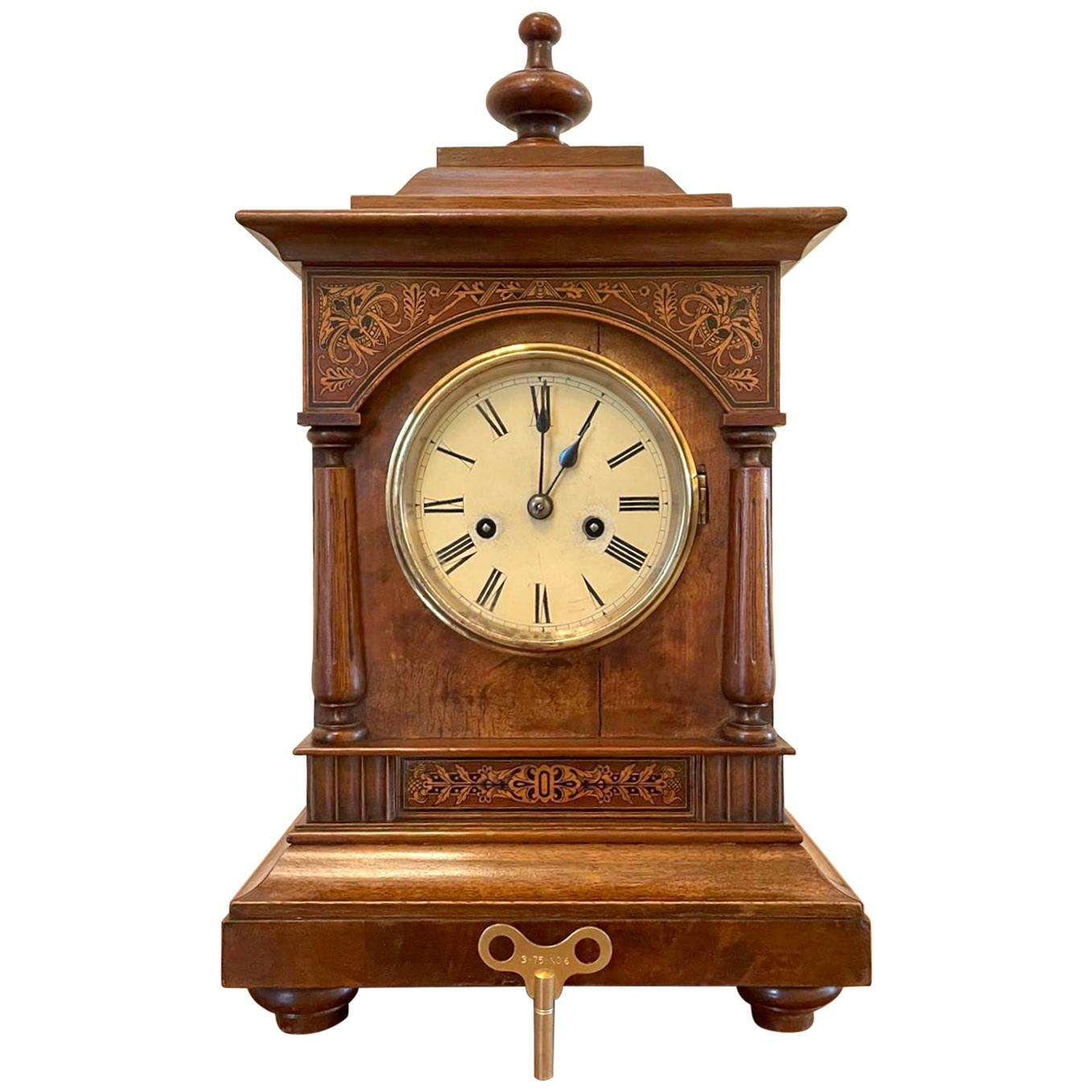 Antique 19th Century Victorian Walnut Inlaid Eight Day Mantel Clock