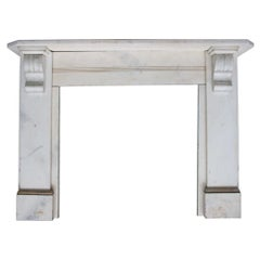 Antique 19th Century Victorian White Marble Fireplace Surround
