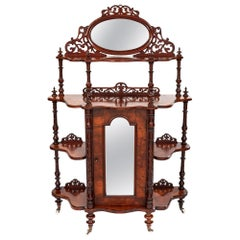 Antique 19th Century Walnut 4-Tier Whatnot with Centre Mirrored Cupboard