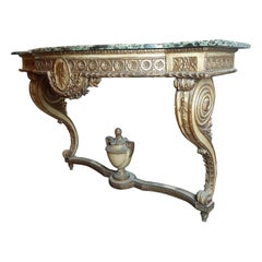 Antique 19th Century Wooden Napoleon III Console Table with Green Marble Top