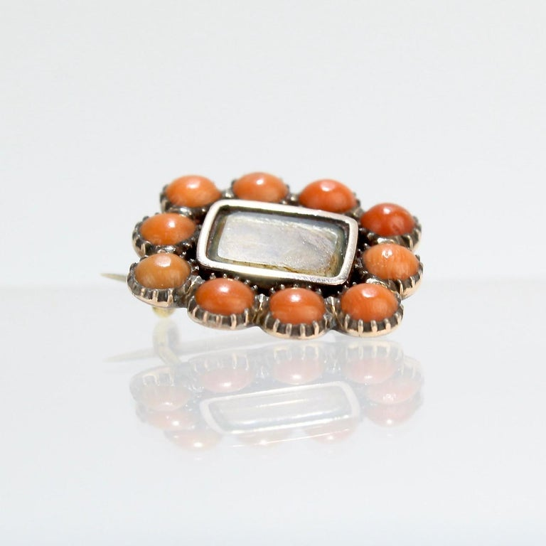 Georgian Antique 19th Century Woven Hair Art Gold-Filled Brooch with Coral Cabochons For Sale