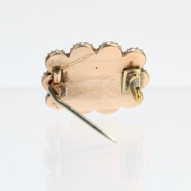 Antique 19th Century Woven Hair Art Gold-Filled Brooch with Coral Cabochons For Sale 1