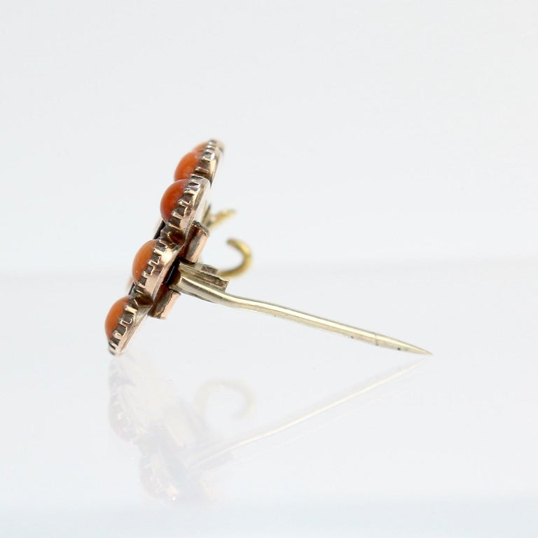 Antique 19th Century Woven Hair Art Gold-Filled Brooch with Coral Cabochons For Sale 4