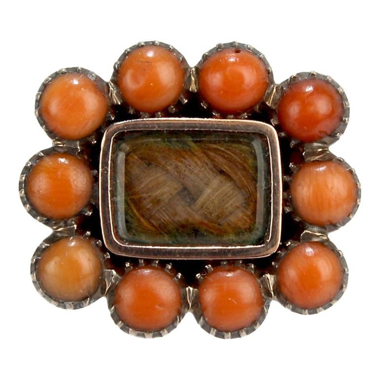 Antique 19th Century Woven Hair Art Gold-Filled Brooch with Coral Cabochons For Sale
