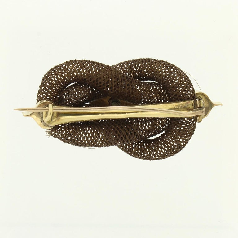 Antique 19th Century Woven Hair Art Mourning Brooch or Pin Engraved 'Mother' For Sale 1