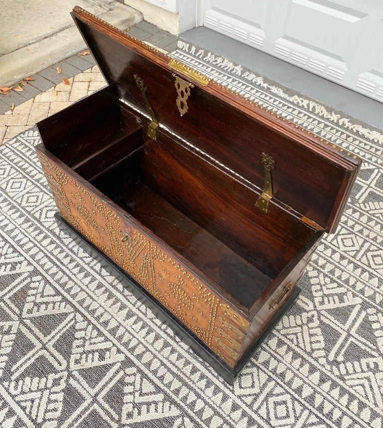 Antique 19th Century Zanzibar Chest in Teak Wood with Brass Overlay and Studs For Sale 3