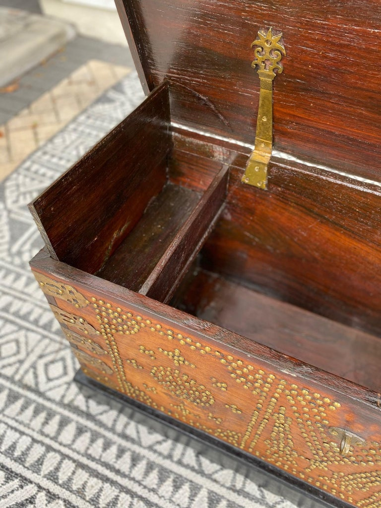 Antique 19th Century Zanzibar Chest in Teak Wood with Brass Overlay and Studs For Sale 4