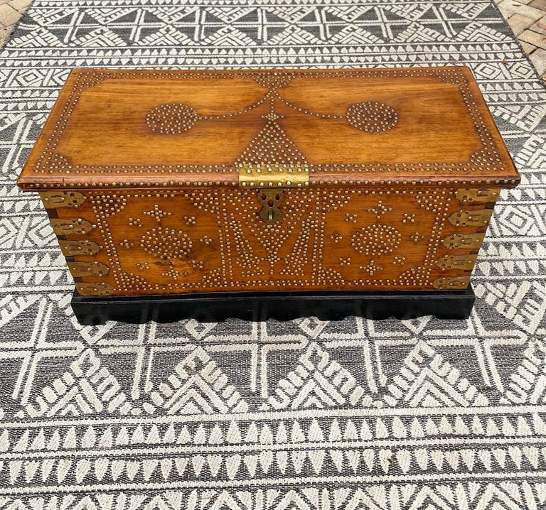 Tanzanian Antique 19th Century Zanzibar Chest in Teak Wood with Brass Overlay and Studs For Sale