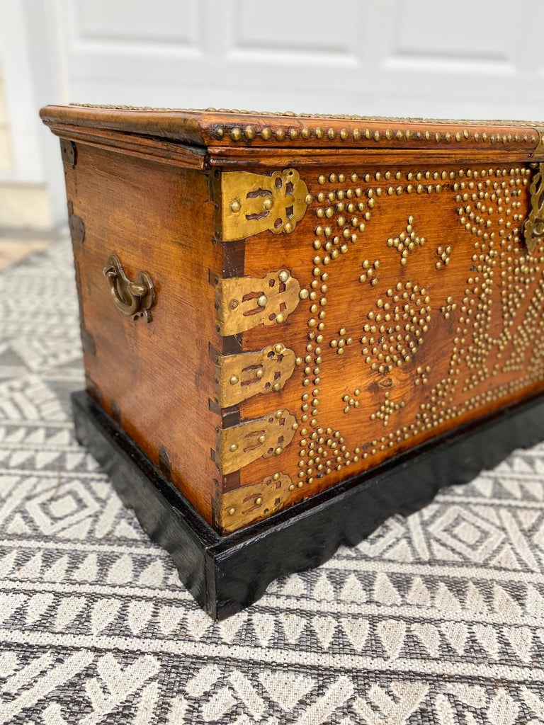 Late 19th Century Antique 19th Century Zanzibar Chest in Teak Wood with Brass Overlay and Studs For Sale