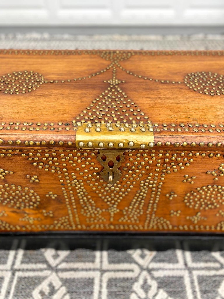 Antique 19th Century Zanzibar Chest in Teak Wood with Brass Overlay and Studs For Sale 1