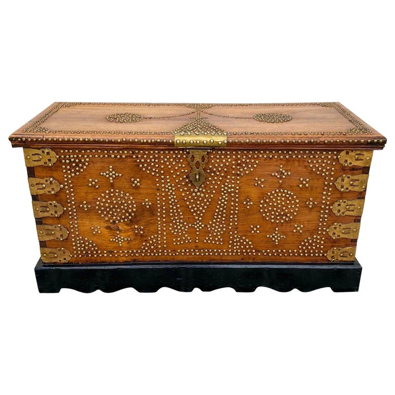 Antique 19th Century Zanzibar Chest in Teak Wood with Brass Overlay and Studs For Sale