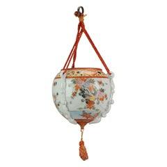 Antique 19th or Early 20C Japanese Kutani Hanging Vase Landscape Birds