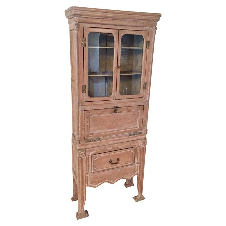 Antique 19th Victorian Curio Cabinet Secretary Desk For Sale