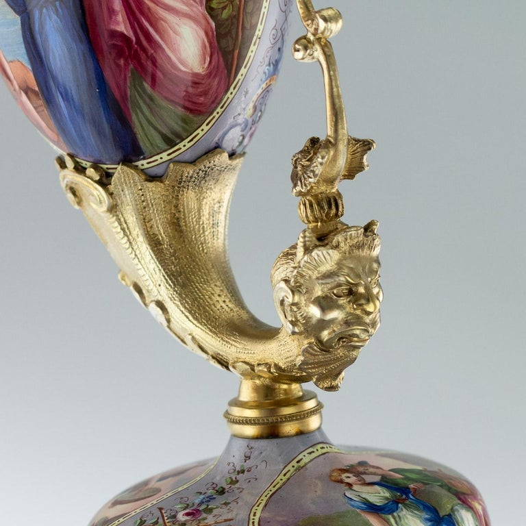 Antique Austrian Solid Silver-Gilt and Enamel Ewer, Ludwig Politzer, circa 1890 For Sale 6