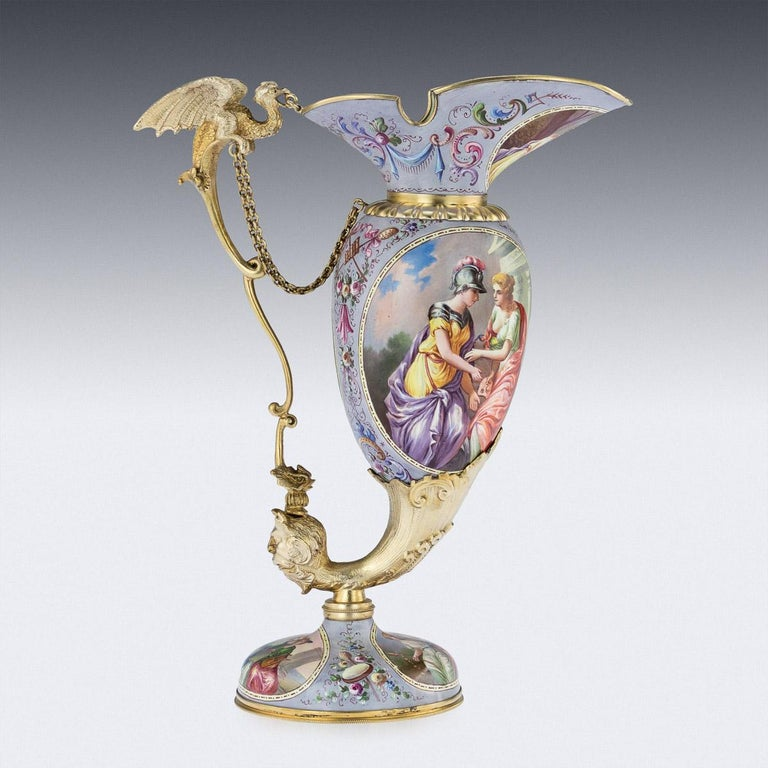 Antique Austrian Solid Silver-Gilt and Enamel Ewer, Ludwig Politzer, circa 1890 In Good Condition For Sale In London, London