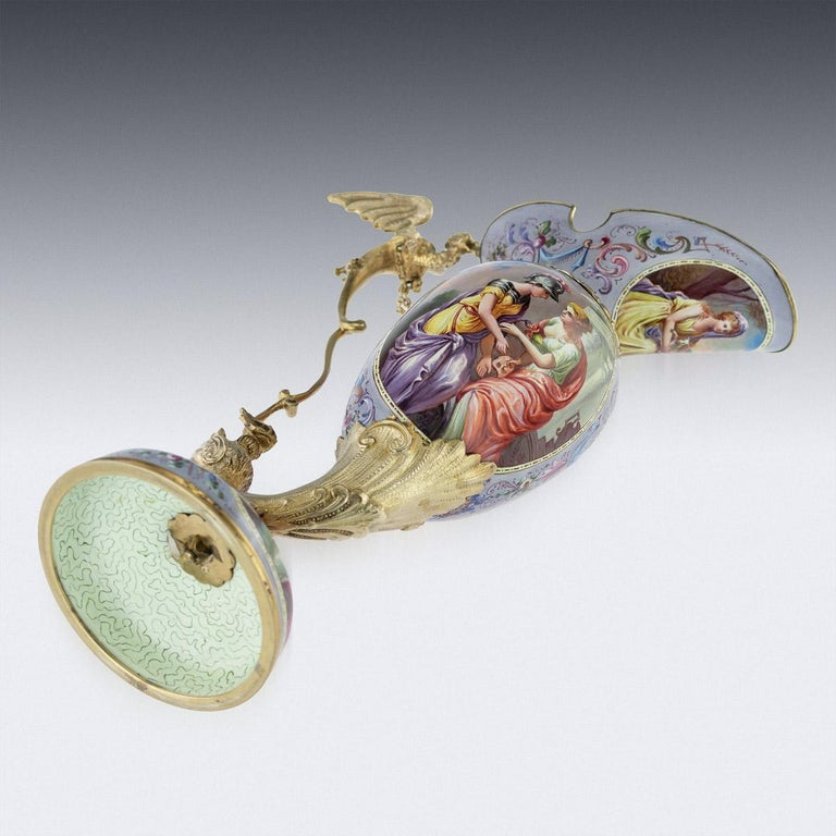 Antique Austrian Solid Silver-Gilt and Enamel Ewer, Ludwig Politzer, circa 1890 For Sale 1