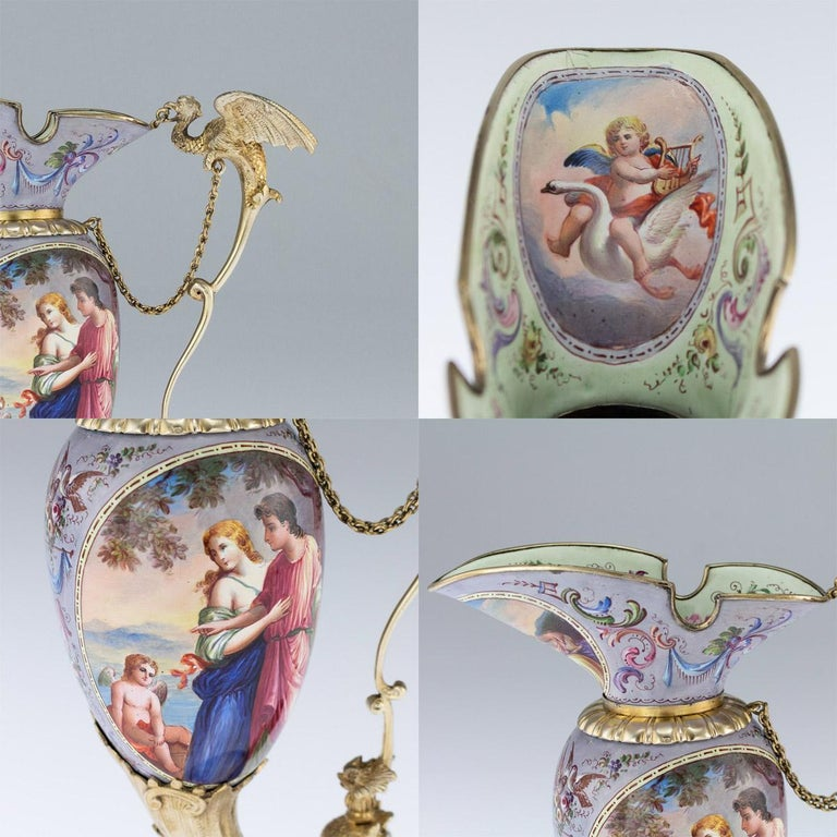 Antique Austrian Solid Silver-Gilt and Enamel Ewer, Ludwig Politzer, circa 1890 For Sale 3