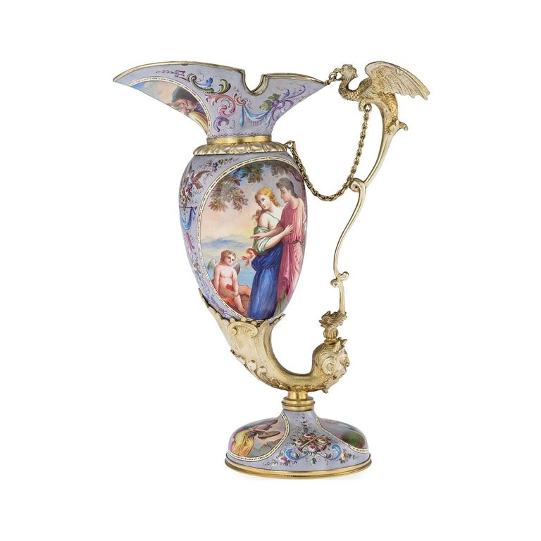 Antique Austrian Solid Silver-Gilt and Enamel Ewer, Ludwig Politzer, circa 1890 For Sale