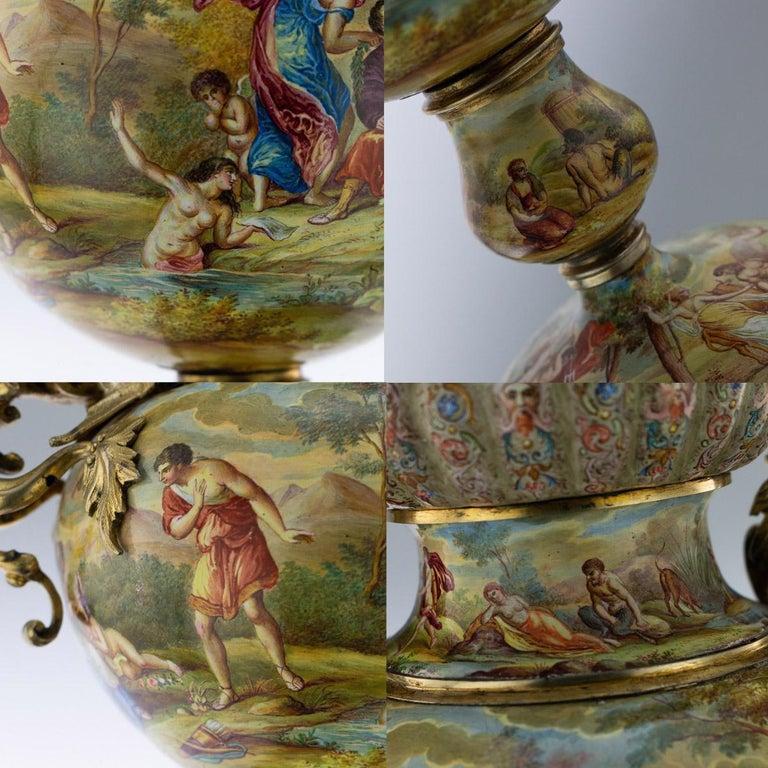 19th Century Austrian Solid Silver-Gilt & Enamel Vase, Hermann Bohm, circa 1880 For Sale 8