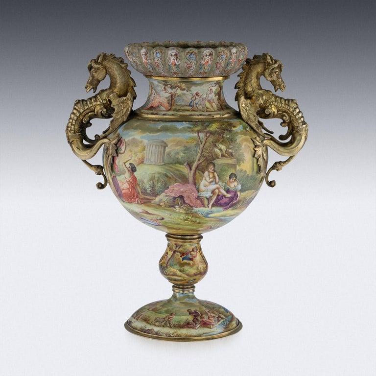 19th Century Austrian Solid Silver-Gilt & Enamel Vase, Hermann Bohm, circa 1880 In Good Condition For Sale In London, GB