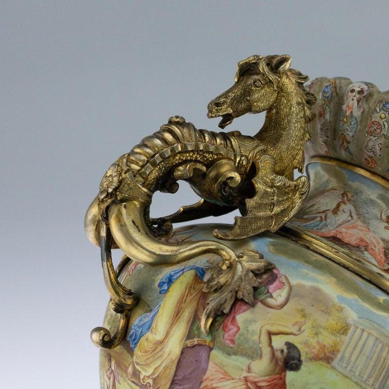 19th Century Austrian Solid Silver-Gilt & Enamel Vase, Hermann Bohm, circa 1880 For Sale 4