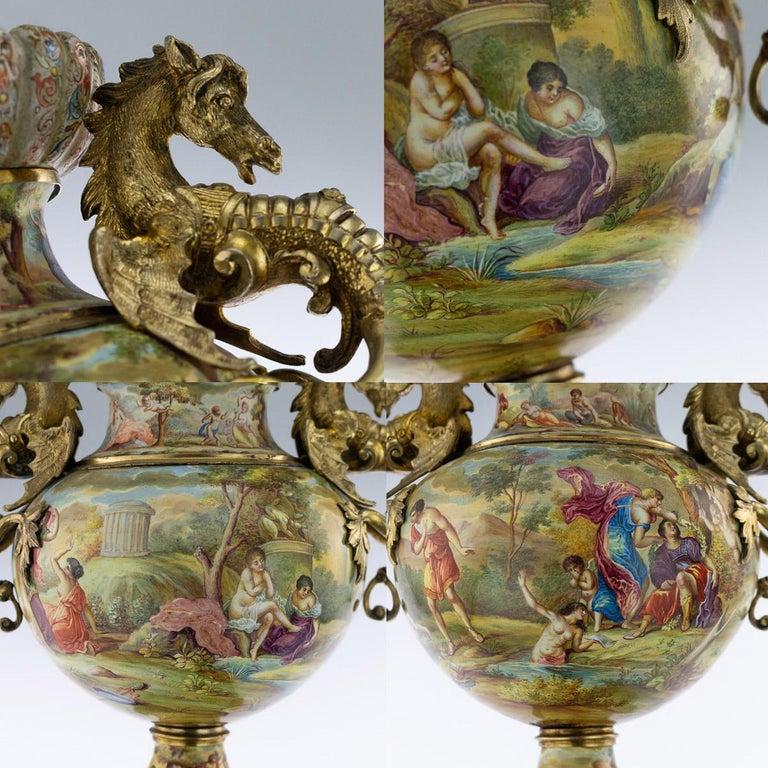 19th Century Austrian Solid Silver-Gilt & Enamel Vase, Hermann Bohm, circa 1880 For Sale 6