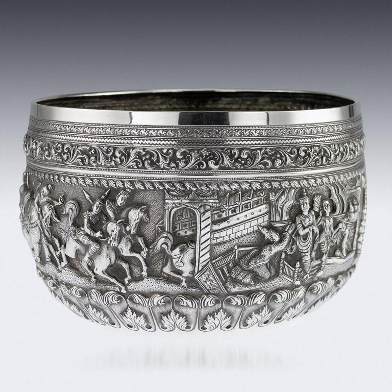 Antique 19th Century Burmese Maung Po Kin Solid Silver Bowl, Rangoon, circa 1890 In Good Condition For Sale In London, London