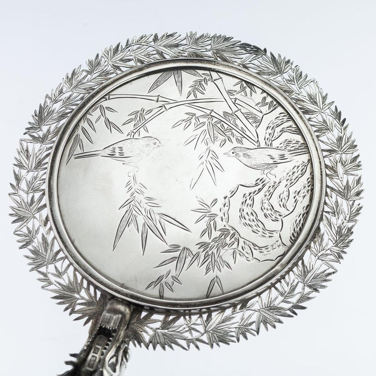 19th Century Chinese Export Solid Silver Hand Mirror Wang Hing, circa 1880 For Sale 8