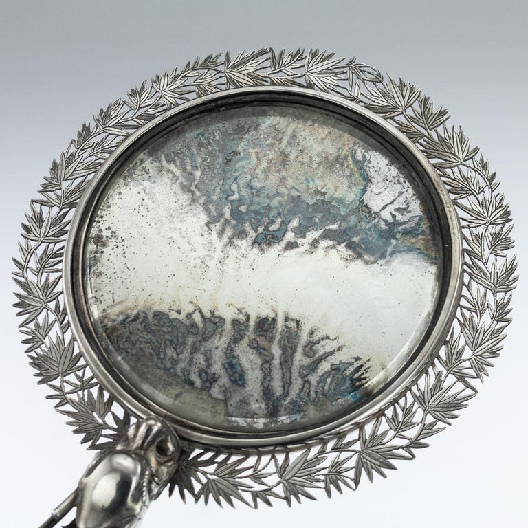 19th Century Chinese Export Solid Silver Hand Mirror Wang Hing, circa 1880 For Sale 1