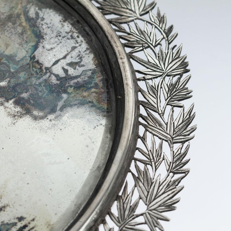 19th Century Chinese Export Solid Silver Hand Mirror Wang Hing, circa 1880 For Sale 2