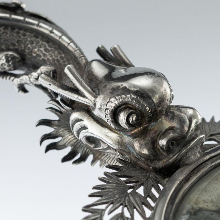 19th Century Chinese Export Solid Silver Hand Mirror Wang Hing, circa 1880 For Sale 5