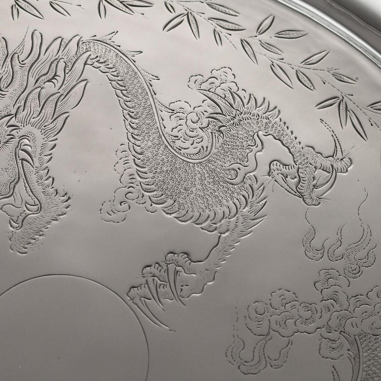 Antique Chinese Solid Silver Salver Tray, Cum Wo, Hong Kong, circa 1890 In Good Condition For Sale In London, GB