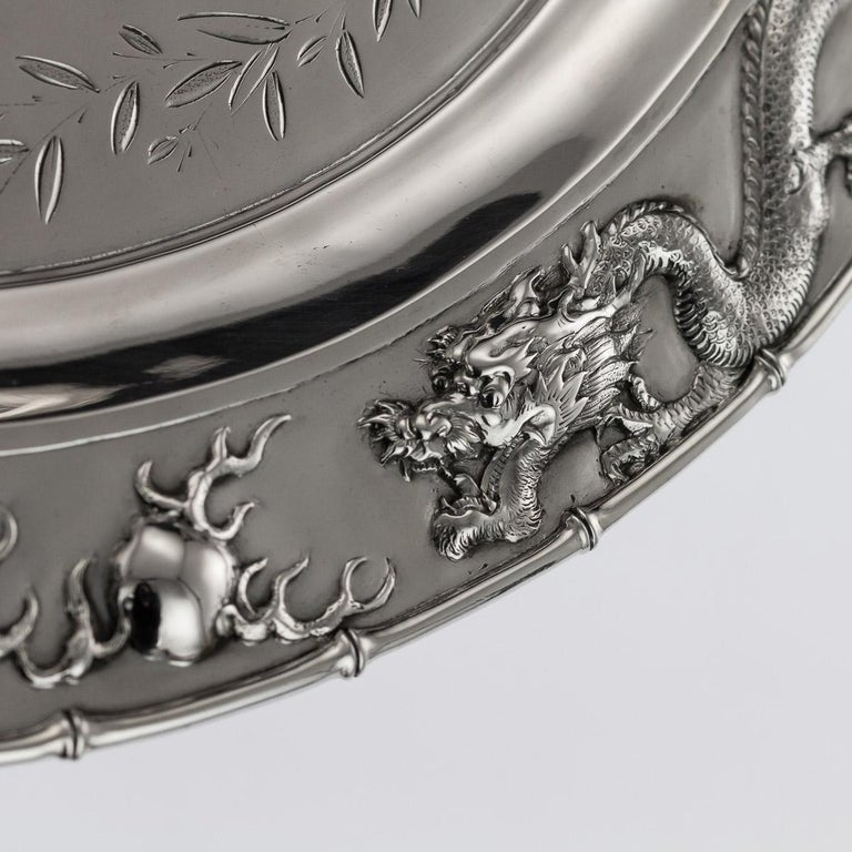 Antique Chinese Solid Silver Salver Tray, Cum Wo, Hong Kong, circa 1890 For Sale 1