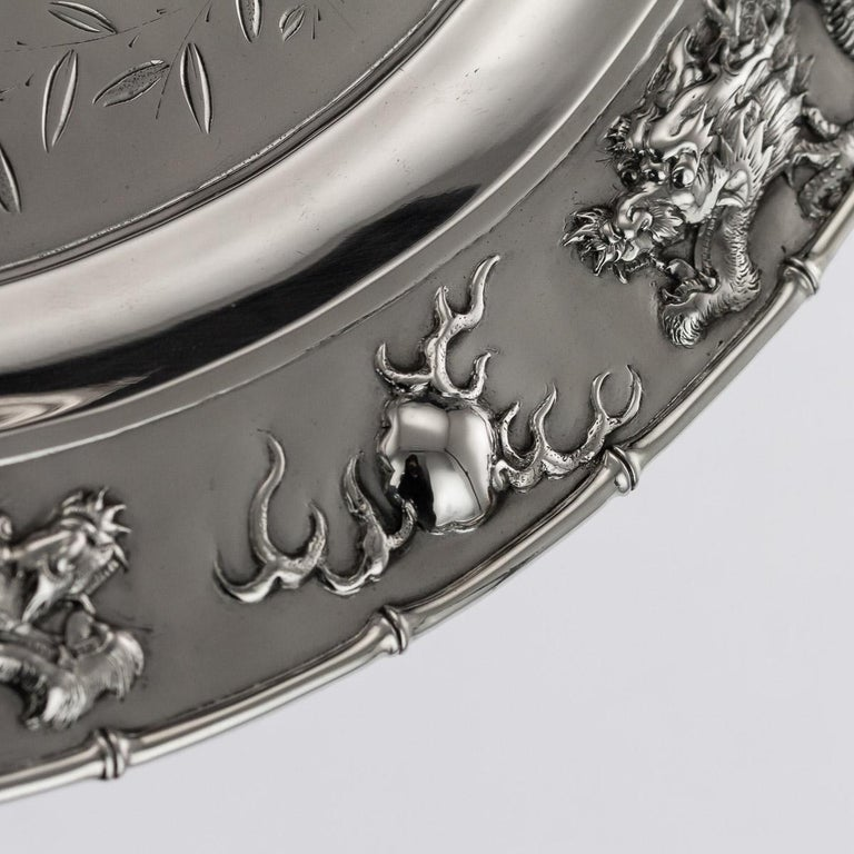 Antique Chinese Solid Silver Salver Tray, Cum Wo, Hong Kong, circa 1890 For Sale 2