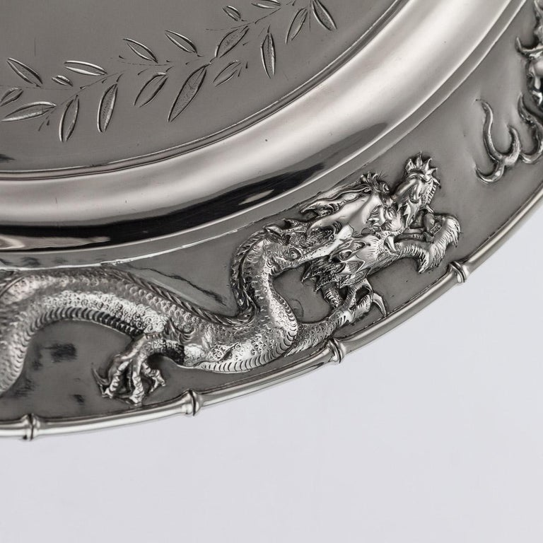 Antique Chinese Solid Silver Salver Tray, Cum Wo, Hong Kong, circa 1890 For Sale 3