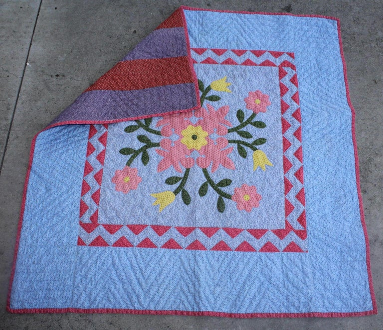 This super rare and fine condition 19th century applique crib quilt from Berks County, Pennsylvania is in pristine condition. Minor spotting on the back side that is the typical bars pattern backing. This fantastic Pennsylvania Dutch pattern has a